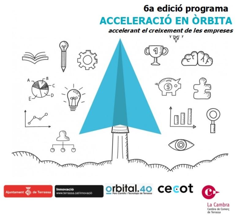 Caràtula programa 6ª edició programa Acceleració en Òrbita. Accelerant el creixement de les empreses. Logos d'Ajuntament de Terrassa, Cambra de Terrassa i Cecot