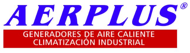 Logo empresa Aerplus. Generadores de aire caliente. Climatización industrial