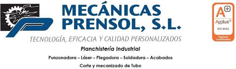 Logo empresa Mecánicas Prensol SL. Tecnología, Eficacia y calidad personalizados. Planchistería Industrial. Punzonadora-Láser-Plegadora-Soldadura-Acabados-Corte y mecanizado de Tubo