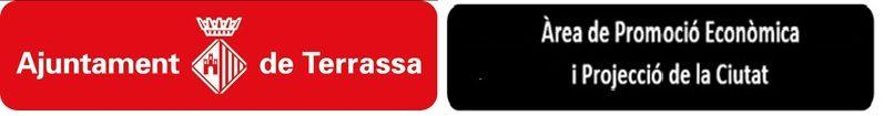 Logo Ajuntament de Terrassa i pastilla negra de l'Àrea de Promoció Econòmica i Projecció de la Ciutat