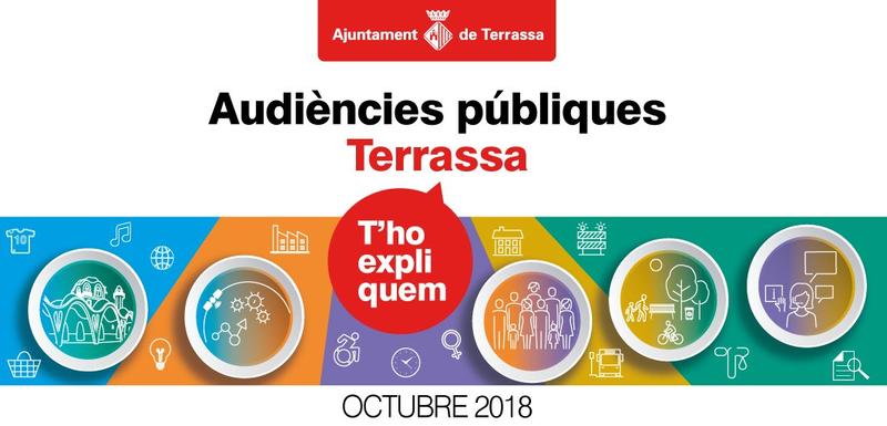 Imatge Audiències públiques Terrassa. T'ho expliquem. Octubre 2018. Logo Ajuntament de Terrassa