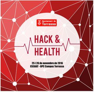 Fons vermell amb nodes blancs connectats. Rodona blana al mig amb text Hack & Health 25 i 26 de novembre 2018. ESEIAAT-UPC Campus Terrassa