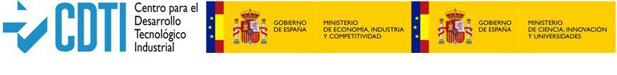 Logo CDTI. Centro para el Desarrollo Tecnológico Industrial, Gobierno de España. Ministerio de Economía, Industría y Competitividad i Gobierno de España. Ministerior de Ciencia, Innovación y Universidades