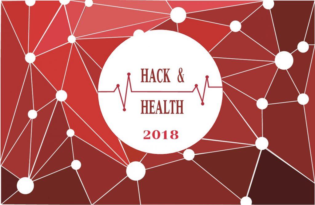 Fons vermell amb nodes blancs connectats. Rodona blana al mig amb text Hack & Health 2018