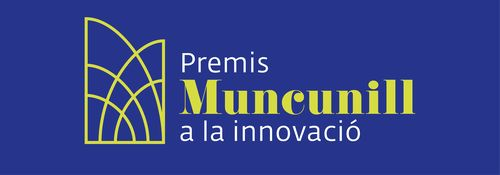 Fons blau amb logo i text Premis Muncunill a la innovació