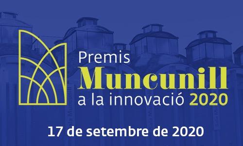 """Fons blau amb imatge de l'edifici de la Sala Muncunill amb text """"Premis Muncunill a la innovació 2020. 17 de setembre de 2020"""""""