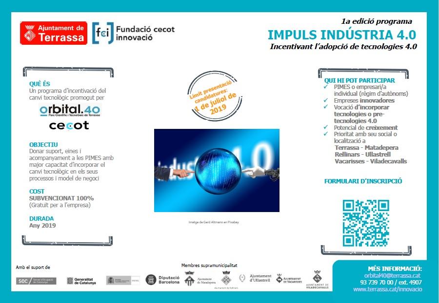 Programa 1a edició Impuls Indústria 4.0 Incentivant l'adopció de tecnologies 4.0