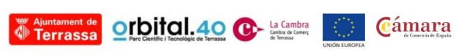 Logos Ajuntament de Terrassa, Orbital.40 Parc Científic i Tecnològic de Terrassa, Cambra de Comerç de Terrassa, Unió Europea i Cámara de Comercio de España