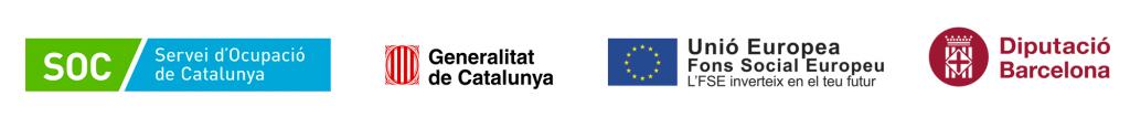 Logos Servei d'Ocupació de Catalunya, Generalitat de Catalunya, Unió Europea Fons Social Europeu i Diputació de Barcelona
