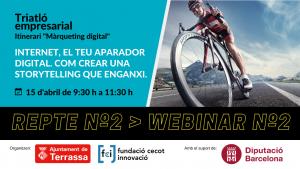 Ciclista en bici per la carretera. Títol sessió, dia i hora i logos Ajuntament de Terrassa, Fundació Cecot Innovació i Diputació de Barcelona