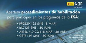 Obertura dels processos d'habilitació per a línies programàtiques PRODEX, BIC, ARTES i GSTP de l'ESA