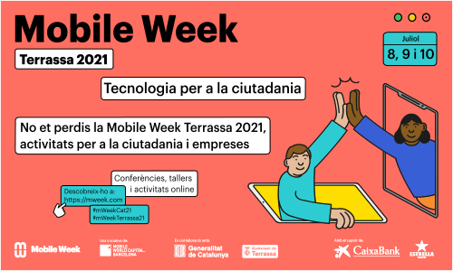 Mobile Week Terrassa 2021. Dibuix noi i noia xocant la mà.