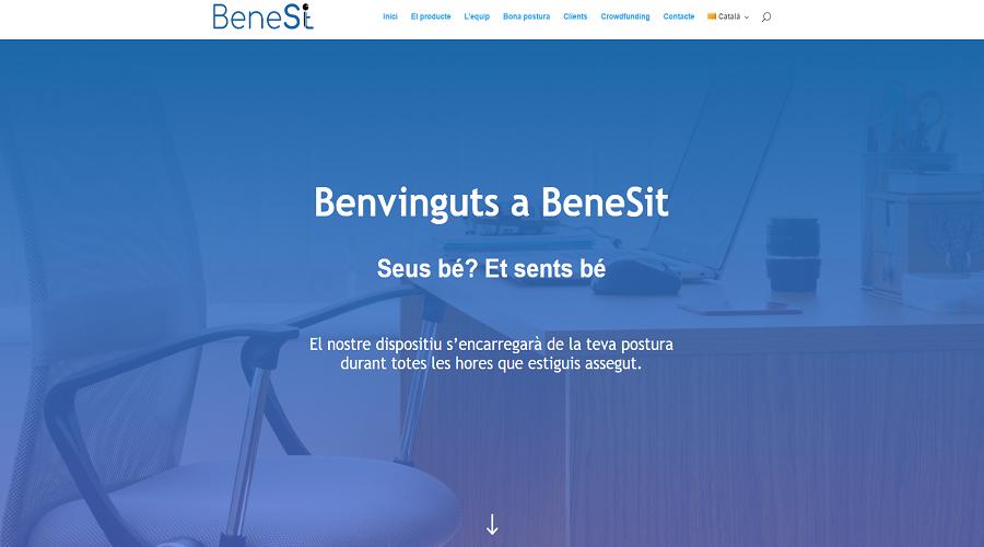 Pantalla d'inici de la pàgina de la precampanya de Benesit